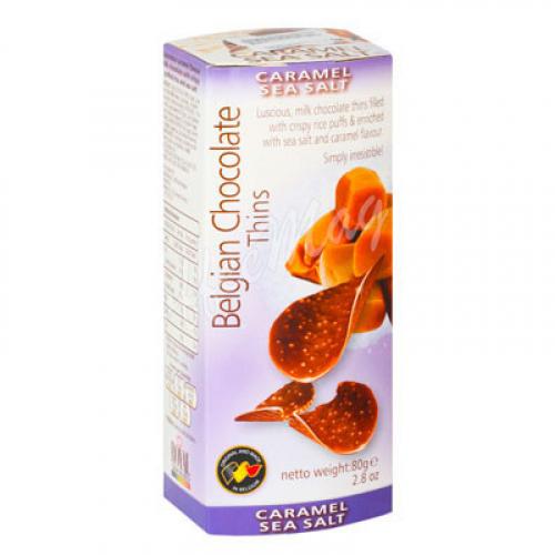 Шоколадные чипсы Belgian Chocolate Thins Соленая карамель 80 гр Артикул: 5233
