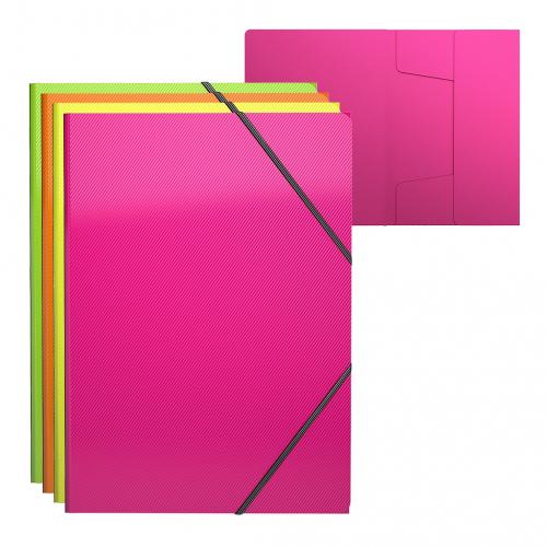 Папка на резинках пластиковая  ErichKrause® Glance Neon, A4, ассорти (в пакете по 4 шт.)