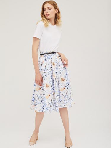 Хлопковая юбка с растительным принтом