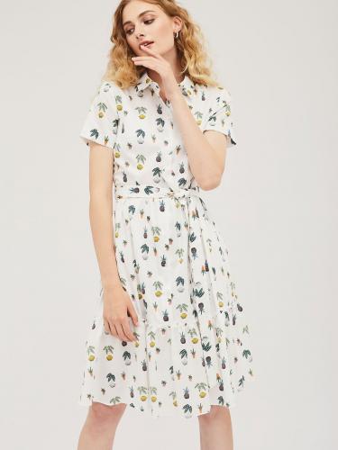 Платье -рубашка с оборкой
