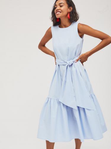 Платье-миди с широкой оборкой