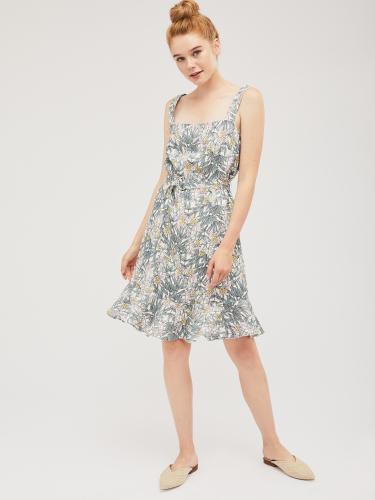 Льняное платье с авторским принтом