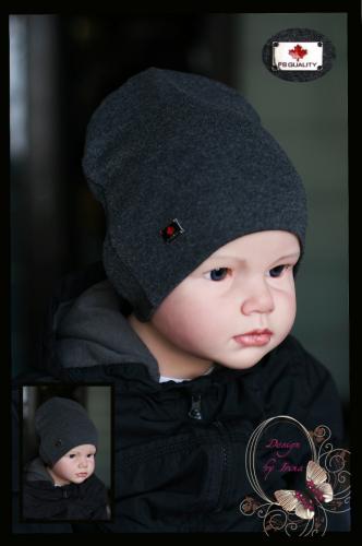 Удлиненная хлопковая шапка для мальчика «FS Quality» графит
