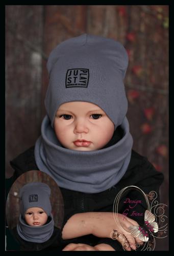 Удлиненная хлопковая шапка для мальчика «JustPlay» антрацит