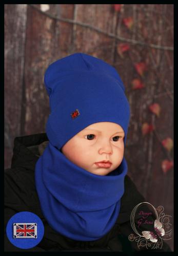 Удлиненная хлопковая шапка для мальчика «Британия» василёк