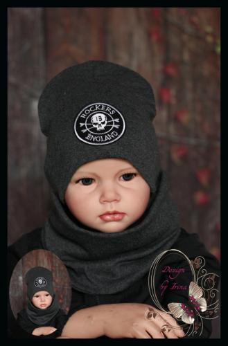 Удлиненная хлопковая шапка для мальчика «ROCKERS ENGLAND» графит