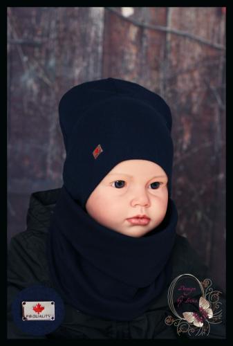 Удлиненная хлопковая шапка для мальчика «Canada» т.синяя