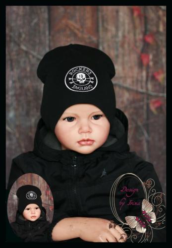 Удлиненная хлопковая шапка для мальчика «ROCKERS ENGLAND» черн.