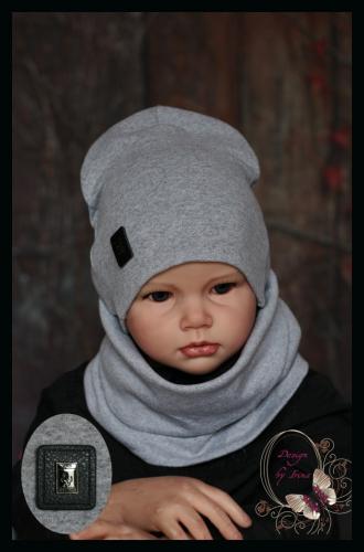 Удлиненная хлопковая шапка для мальчика «Тренд» серая