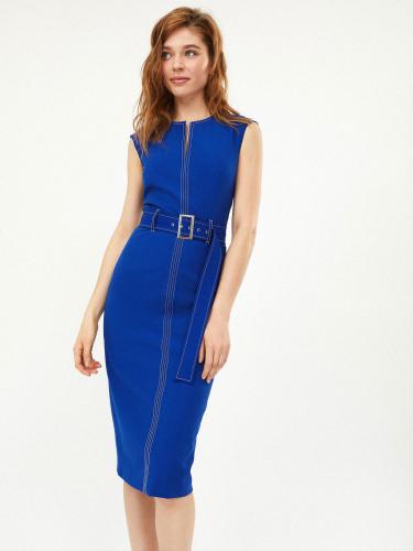 Платье с контрастной строчкой