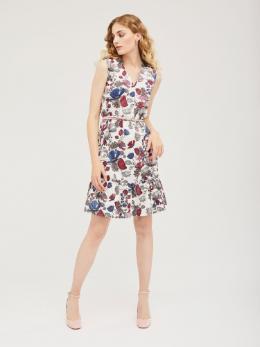 Хлопковое платье с широкой оборкой