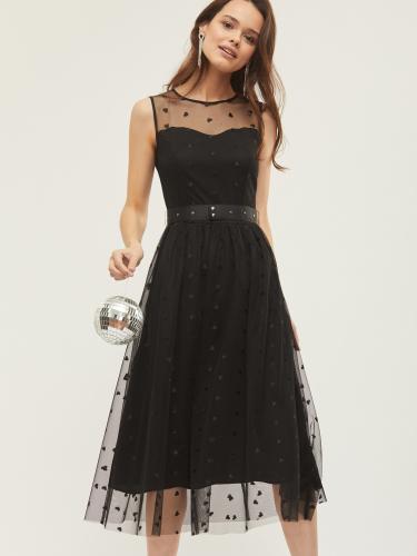 Платье в сетку с поясом