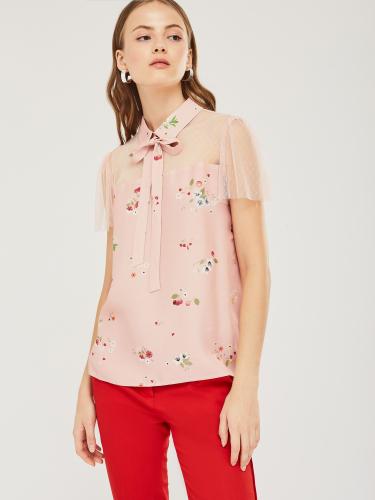 Блуза из комбинированной ткани