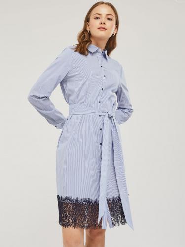 Платье-рубашка с кружевной отделкой