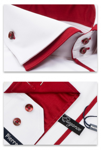0117TESF арт. Мужская рубашка белая Elegance Slim Fit c красным подкроем и двойным воротником