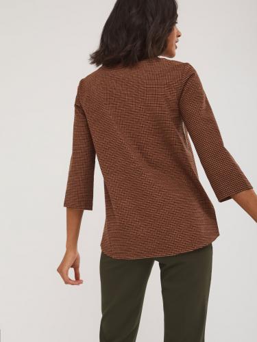 Блуза прямого силуэта с рукавом 3/4 и кожаными вставками по линии талии