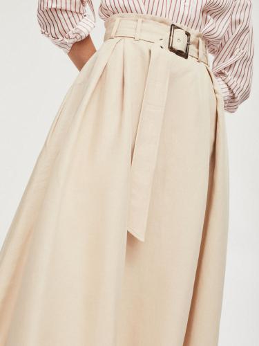 Льняная юбка с поясом