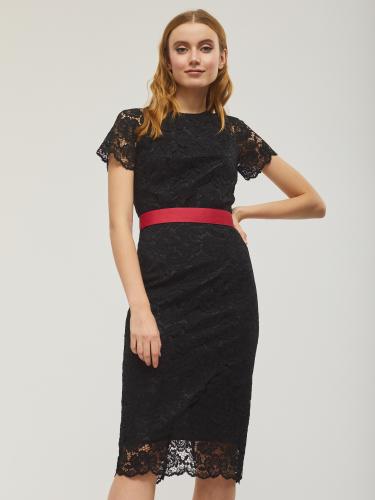 Кружевное платье с короткими рукавами длины миди