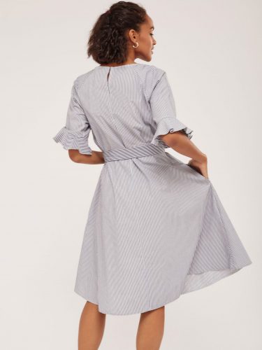 Хлопковое платье с воланами на рукавах