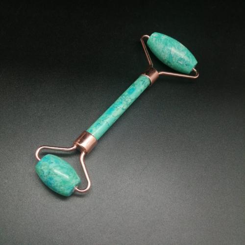 Массажер для лица двусторонний из тонированного Агата, розовое золото