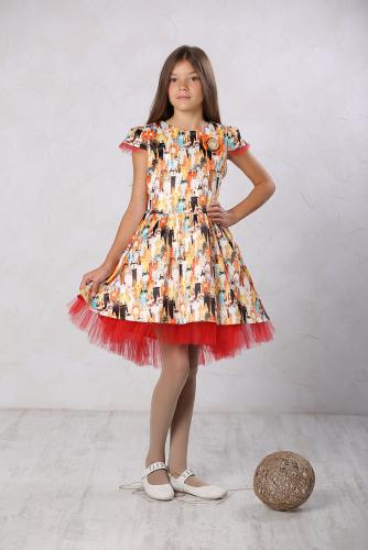 1260р.2100р.Платье для девочки Барби М-431 кошки