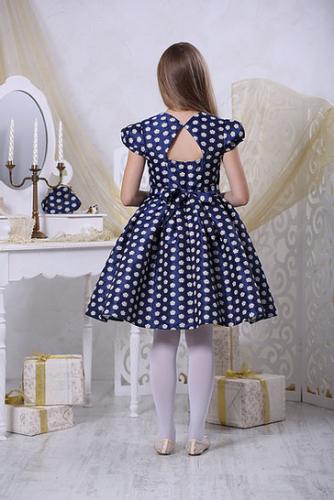 1610р.2300р.Платье для девочки Вивьен Ж16-1 жаккард цветы индиго