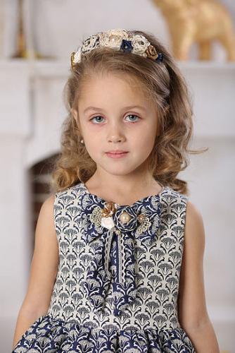 980р.1400р.Платье для девочки Милана М-257 жаккард синий золото