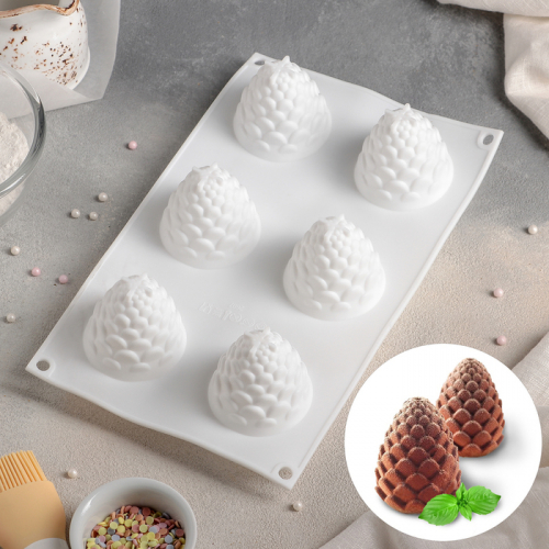 Форма для муссовых десертов и выпечки «Шишка», 27×16,8 см, 6 ячеек (d=5 см), цвет белый