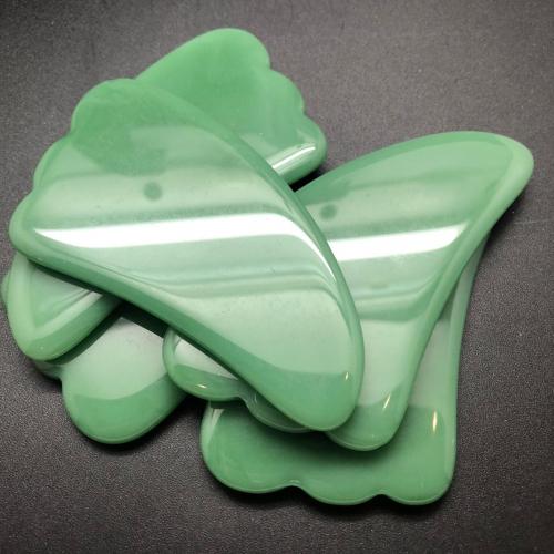 Массажер для лица - Гуаша «Скребок» из зеленого Агата, лапка, большой