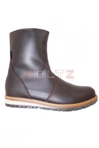 Мужские зимние кожаные коричневые полусапоги 8087 0-1-1