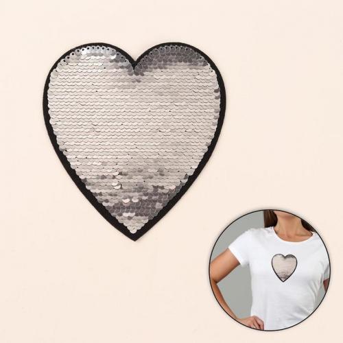 Термоаппликация двусторонняя «Сердце», с пайетками, 13 × 12 см, цвет красный/серебряный