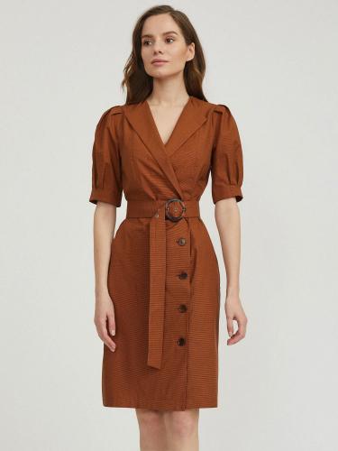 Платье с объемными рукавами и поясом