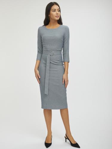 Платье в гусиную лапку с поясом