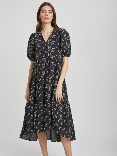 Платье из хлопка с контрастной вышивкой