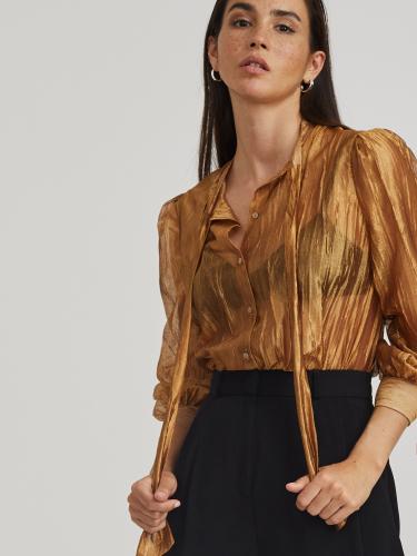 Блуза из органзы с лентами