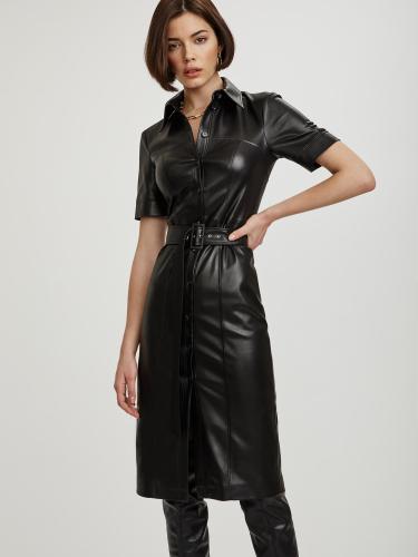Платье-рубашка из искусственной кожи
