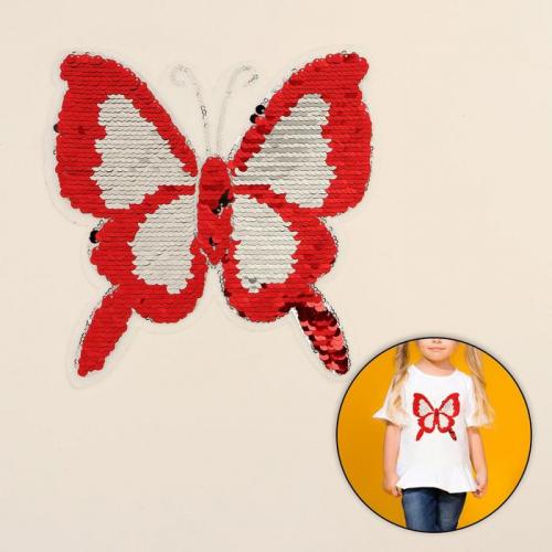 Термоаппликация двусторонняя «Бабочка», с пайетками, 18,5 × 18,5 см, цвет красный/золотой