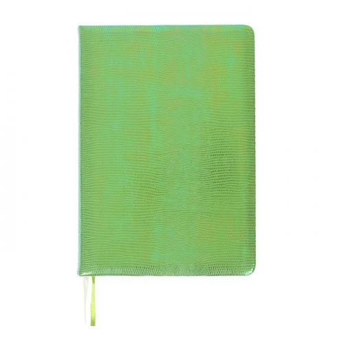 Ежедневник недатированный А5, 160 листов Glossy, обложка искусственная кожа, термотиснение, 2 ляссе, тонированный блок 70 г/м2, салатовый блестящий