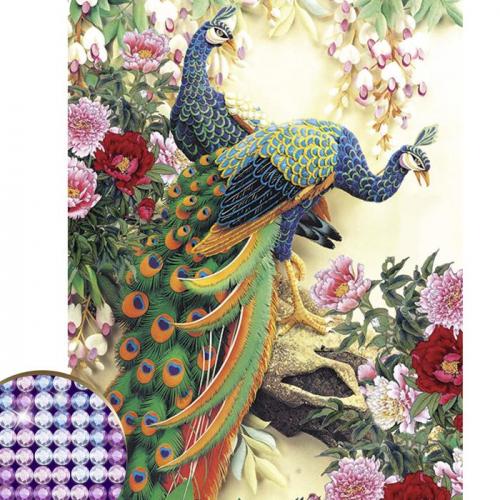 Алмазная вышивка с частичным заполнением «Павлины», 30 х 50 см, 26 цветов страз