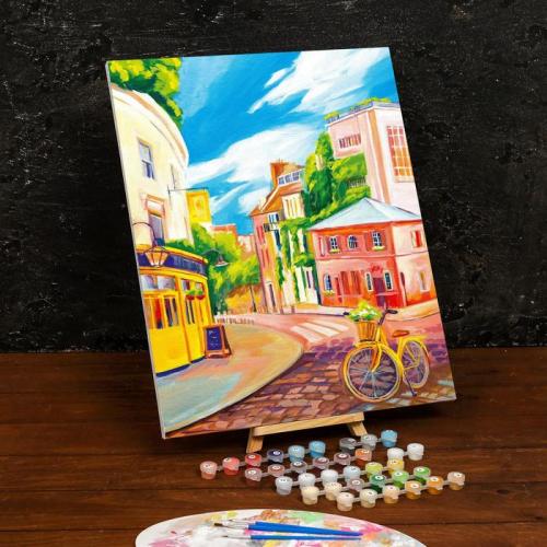 Картина по номерам на холсте с подрамником «Велосипед на улице» 40×50 см