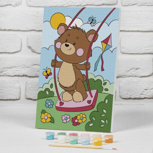 Картина по номерам на подрамнике «Медвежонок на качели» 20×30 см