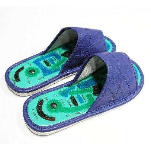 Массажные тапочки Шиацу из экокожи, мужские, синие