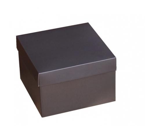 Коробка для композиций и подарков 195*195*125 серая (графит)
