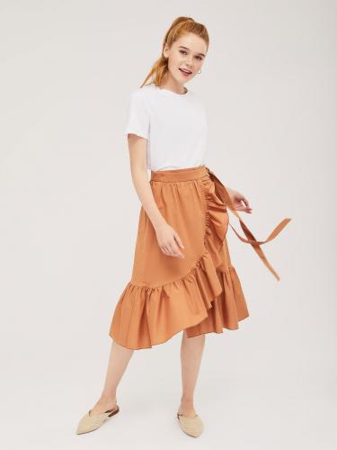 Хлопковая юбка на запах с оборкой