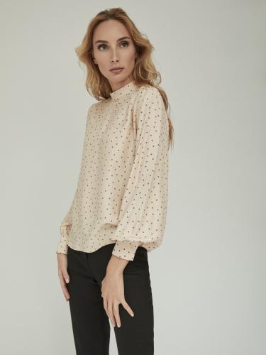 Блуза с дизайнерским принтом и широкими рукавами