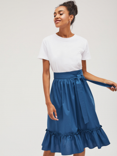 Воздушная юбка с оборкой
