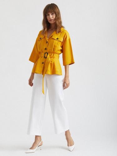 Блуза изо льна с поясом