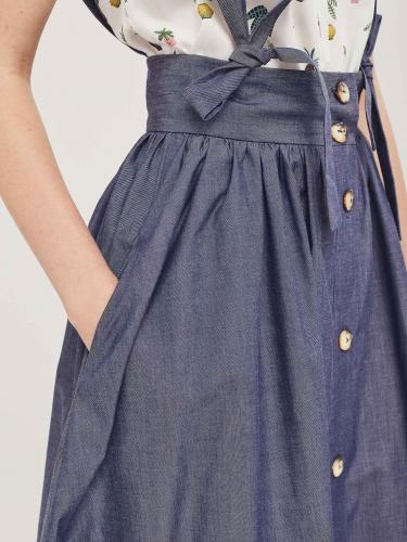 Хлопковая юбка с лямками на бант