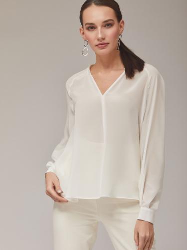 Однотонная полупрозрачная блуза из 100% шелка