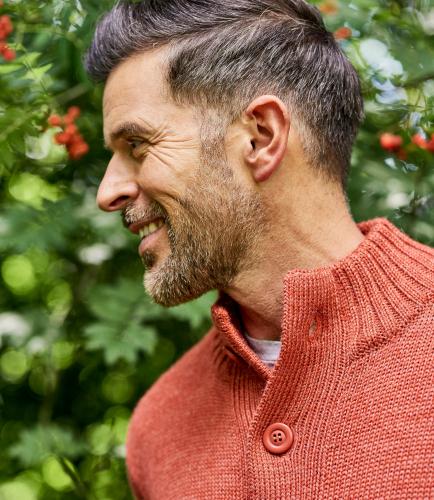 Мужская кофта на пуговицах из натуральной овечьей шерсти